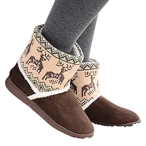 Botas femininas Zoylink com estampa de alce fofo, antiderrapantes, botas de inverno