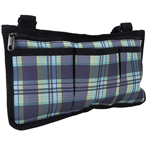 Redxiao Bolsa de Almacenamiento Impermeable Multifuncional de 18x32.5cm, Bolsa Lateral para sillas de Ruedas de Rejilla Azul, Organizador de Bolsa para apoyabrazos, Botella de Agua para comestibles