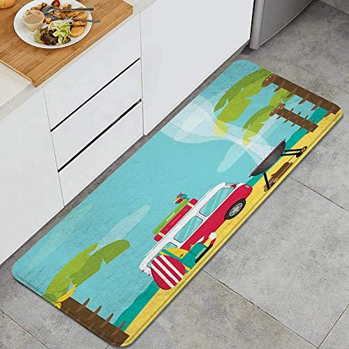 VAMIX Dywan kuchenny, przyczepa kempingowa z deskami do grillowania i surfingu tropikalna plaża banan drzewa kokosowe, dekoracyjna kuchenna mata podłogowa z antypoślizgowym spodem, 119 cm x 43 cm