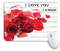 PATINISAマウスパッド バレンタインデー素朴な木製ヴィンテージウッドに赤いリボンが付いたバラの花びらが落ちる ゲーミング オフィ良い 滑り止めゴム底 ゲーミングなど適用 マウス 用ノートブックコンピュータ
