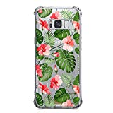Galaxy S8 Case for Girl Clear with Tropical Flower Design Shockproof Bumper Protective Cases for Samsung Galaxy S8 Flexible Silicone Slim Fit Palm Tree leaves Floral Pattern Print Rubber Cover Women
