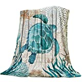 Aomike Flannel Fleece Throw Blanket for Couch- 39' x 49', Underwater World Sea Turtle Nature Watercolor Style Blanket Super Soft Cozy Plush Microfiber Fluffy Blanket Lightweight Warm Bed Blanket