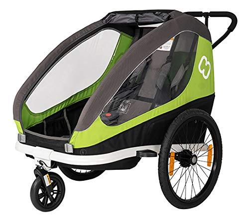 Hamax Traveller Fahrradanhänger Zweisitzer für 2 Kinder, Farbe:grün