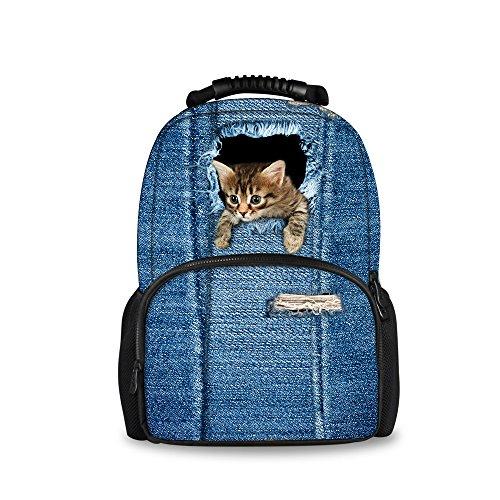 Injersdesigns Casual Mochila Mujer Hombre Viaje Mochila Laptop School Bags para Adolescentes Denim Perro Gato Alumnos Bookbags para Niñas Niños (C3301A)