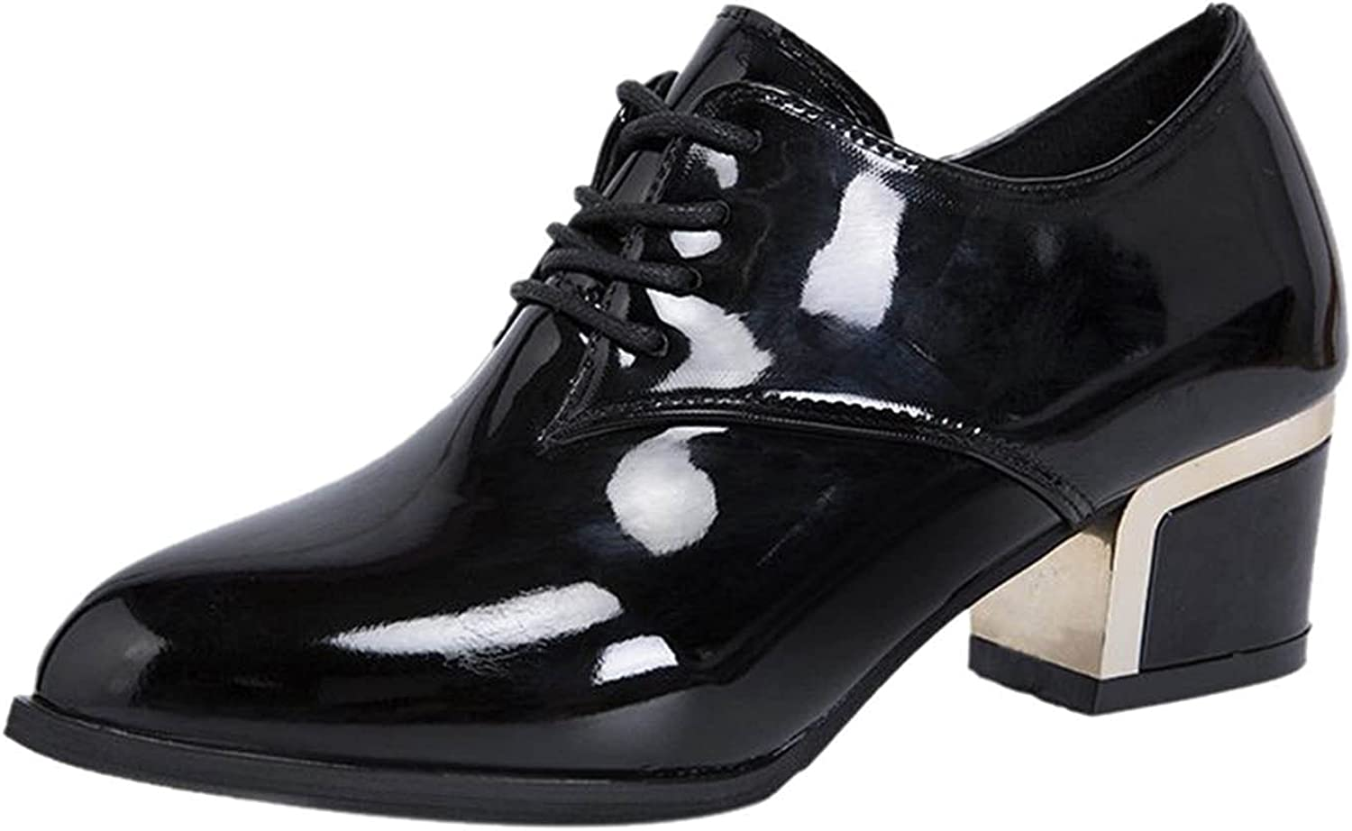 Ranking TOP12 Women's Oxfords Brogues Chunky Heel Square V British Toe Lace-up Max 54% OFF