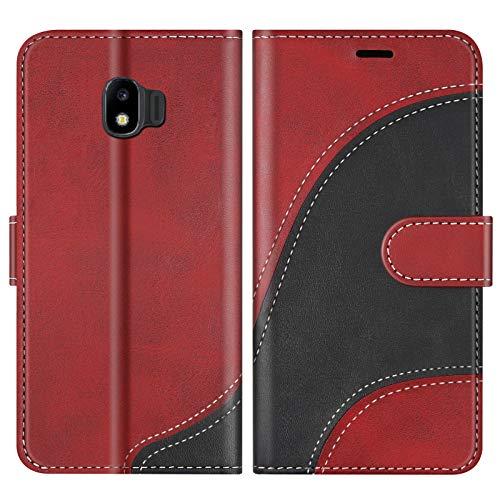 BoxTii Hülle für Galaxy J2 Pro 2018, Leder Handyhülle für Samsung Galaxy J2 Pro 2018, Ledertasche Klapphülle Schutzhülle mit Kartenfächer & Magnetverschluss, Rot