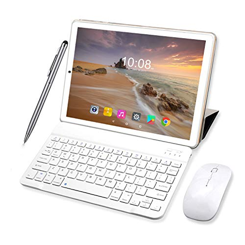Tablet de 10 pulgadas Android 9.0 Pie 64 GB ROM 4 GB RAM Tablets PC con doble SIM | 8000 mAh | WiFi | GPS | Bluetooth | Type-C | Doble cámara (8 MP + 5 MP) con teclado Bluetooth y ratón (dorado)