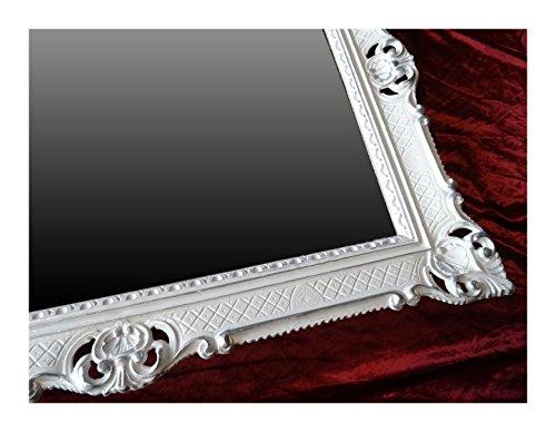 Lnxp Bilderrahmen Weiß-Silber Dualcolor 90x70 cm mit Glasscheibe Hochzeitsrahmen Selfie Fotorahmen Foto Requisiten Rahmen Antik Barock Rokoko Repro Shabby Chic Renaissance JUGENDSTIL Retro LUXURIÖS