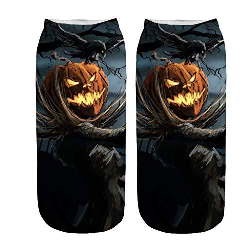 YWLINK Disfraz De Halloween Calcetines 3D con Estampado De Calabaza Calcetines Deportivos Transpirables Antideslizantes Divertido Vestido Festivo