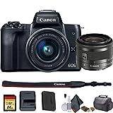 Canon EOS M50 Mirrorless Vlogging Digital Camera with 15-45mm Lens + Camera Bag + 64GB Memory Card + Cleaing Set + More (International Model) (2680C011) - Starter Bundle (Renewed)