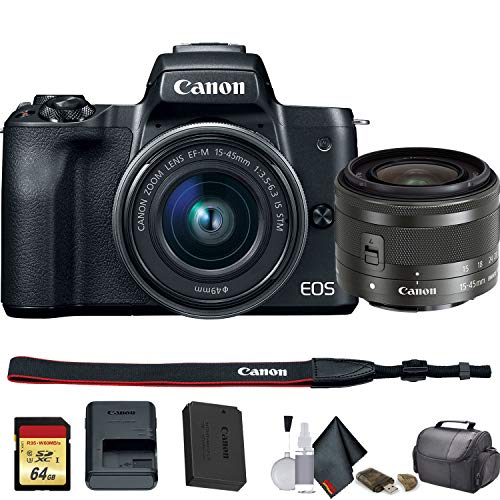 Canon EOS M50 Mirrorless Vlogging Digital Camera with 15-45mm Lens + Camera Bag + 64GB Memory Card + Cleaing Set + More (International Model) (2680C011) - Starter Bundle