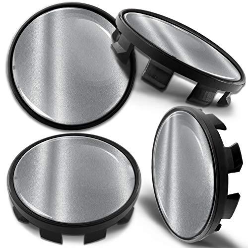 Biomar Labs 4 x 68mm Tapas de Rueda de Centro Tapacubos Centrales Llantas Aluminio Compatible con BMW Part. No. 36136783536 Negro Plata para Coche CB 3