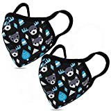 Kids Face Mask 2 Pack Fashionable Animal Pattern Face Cover- Multifunctional Adjustable Nose Bridge Face Cover- Reusable and Washable - Suitable for Family or Outdoor Cycling Running Shopping