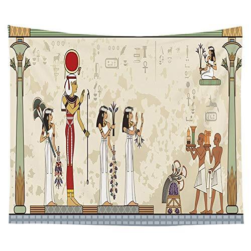 JXGG Faraón Egipcio Tapiz Familia cabecera Tela Colgante Fondo Tela Red Vida decoración Tela 150x130 cm