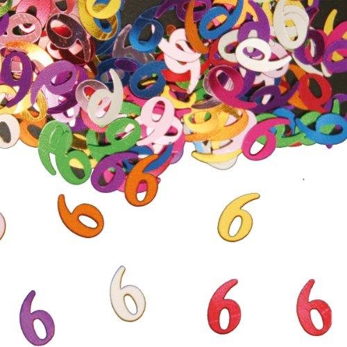 Folat Sachet de confettis multicolores scintillants en métal avec chiffre d'anniversaire 6 pour anniversaire d'enfant 15 g (env. 1000 confettis)