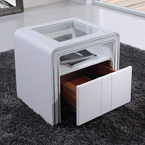CADENTRO Table de Chevet Design en Simili Cuir/VI (Blanc)