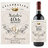 Personalised 18th 21st 30th 40th 50th 60th Happy Birthday Wine Champagne Bottle Label ~ Any Age Gift Idea for him her N64