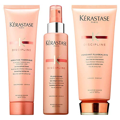 Kerastase Discipline Frizzy Hair Kit, Keratin Thermique 5.1 Oz, Discipline Fluidissime 5.1 Oz & Kerastase Fondant Fluidealiste 6.8 Oz