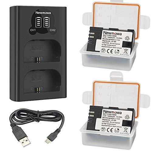 Newmowa LP-E6 Batería de Repuesto (Paquete de 2) y Smart LCD Cargador Dual USB para Canon LP-E6, LP-E6N and Canon EOS 5DS R, EOS 5DS, EOS 5D Mark III, EOS 5D Mark II