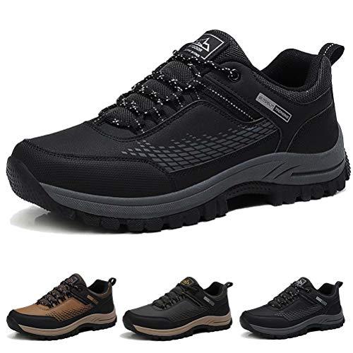 Zapatos de Senderismo para Hombre Impermeables Zapatillas da Trekking Antideslizantes Al Aire Libre Zapatillas de Deporte Negro 41