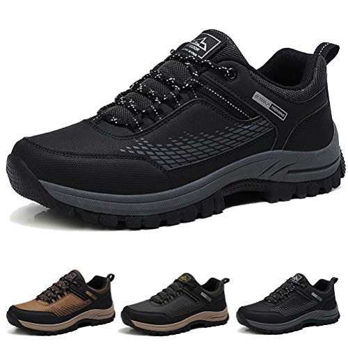 Zapatos de Senderismo para Hombre Impermeables Zapatillas da Trekking Antideslizantes Al Aire Libre Zapatillas de Deporte Negro 42