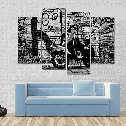 IOIP Cuadro En Lienzo 4 Piezas Impresiones sobre Lienzo Scooter Delantero ImpresióN HD Pintura 4 Piezas Modernos Salón Decoracion Murales Pared Lona XXL Hogar Dormitorios Decor