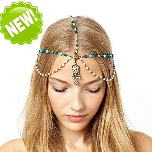 Tête Chaîne Bandeau Style Bohémien Metal Strass Head Chain Bijoux Headband Head Piece Bandeaux pour Femmes et Filles (or)