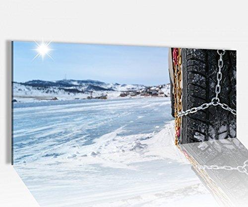 Preisvergleich Produktbild Acrylglasbild 100x40cm Schneeketten Autoreifen Winter Schnee Acrylbild Glasbild Acrylglas Acrylglasbilder 14A1562,  Acrylglas Größe1:100cmx40cm