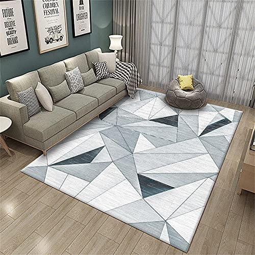 Alfombra Salon Pelo Corto Tapete Quarto Gris Blanco Stitch Triángulo Diseño Sala de niños Pasillo Corredor Corredor Desgaste de Deslizamiento Alfombra Niños Juego 160x200cm