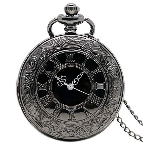 Reloj De Bolsillo con Cadena Retro Black Fullmetal Steampunk Spider Web On Titan Style Reloj De Bolsillo De Cuarzo Hombres Reloj Cadena Regalo A