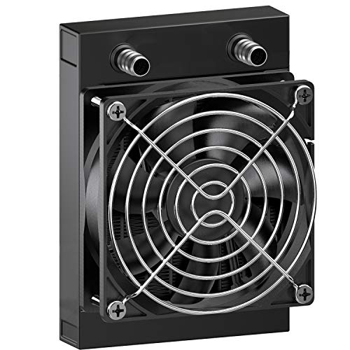 CLDIY Radiador de refrigeración por agua, 8 pipas, aluminio, con ventilador, para PC, CPU, ordenador, sistema de refrigeración por agua, CC 12 V, 80 mm