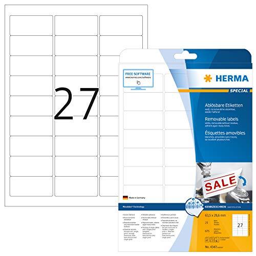 HERMA 4347 Universal Etiketten DIN A4 ablösbar, klein (63,5 x 29,6 mm, 25 Blatt, Papier, matt) selbstklebend, bedruckbar, abziehbare und wieder haftende Adressaufkleber, 675 Klebeetiketten, weiß