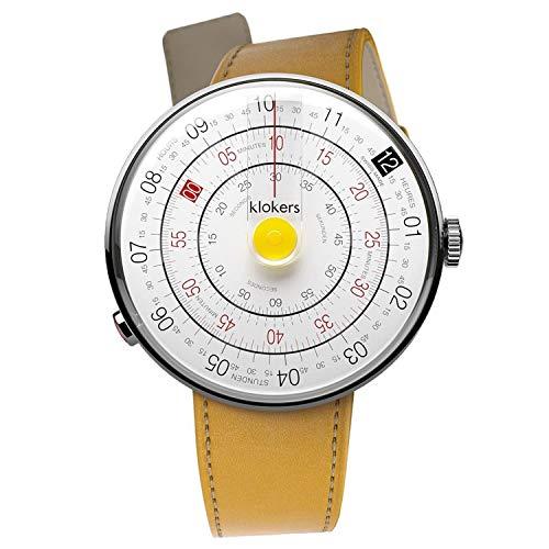 Klokers Klok 01 Reloj unisex esfera blanca con correa de cuero amarilla KLOK1.MC7