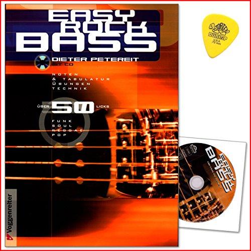 Easy Rock Bass von Dieter Petereit - Alle wichtigen Spieltechniken: Wechselbass, Walking Bass, Doublestops, Slap a Pop - Lehrbuch mit CD und Dunlop Plek