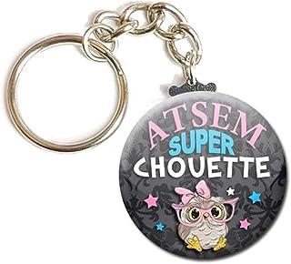 Porte Clés Chaînette 3,8 centimètres Atsem Super Chouette Idée Cadeau Accessoire École Fin d' Année Scolaire Enfant Éducation