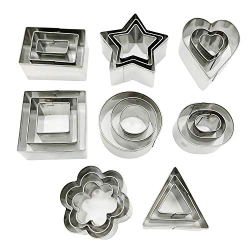 Docik 24 Piece Mini Stainless Steel Cookie Cutter Set, Cake Fruit Pastry Biscuit Mini Cutters Baking Molds, Geometric Heart Flower Star Shape