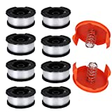 """TOPEMAI AF-100 Spool, 0.065"""" Line String Trimmer Replacement Compatible with Black & Decker AF-100-3ZP GH900 GH600 String Trimmer(8 Pack+2 Spool Cap and Spring)"""