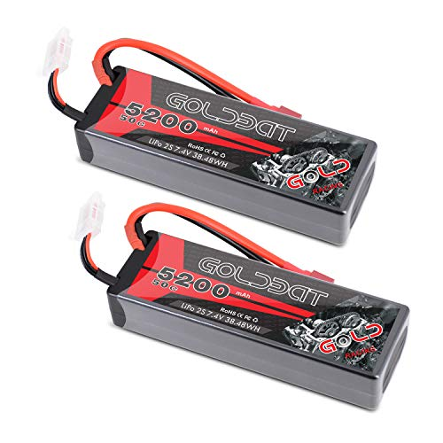LiPo Battery 2S 5200mAh 50C 7.4V GOLDBAT RC LiPo Battery Hard Case Pack with Deans Plug for RC Evader BX Car Losi Traxxas Slash Buggy Team Associated Truck Truggy (2 Packs)
