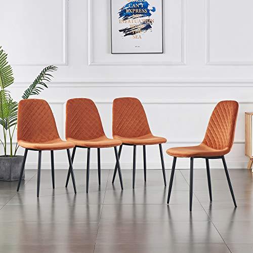 JYMTOM Lot de 4 Chaises en Velours de Salle à Manger avec Pieds en Métal de Style Moderne (Orange)