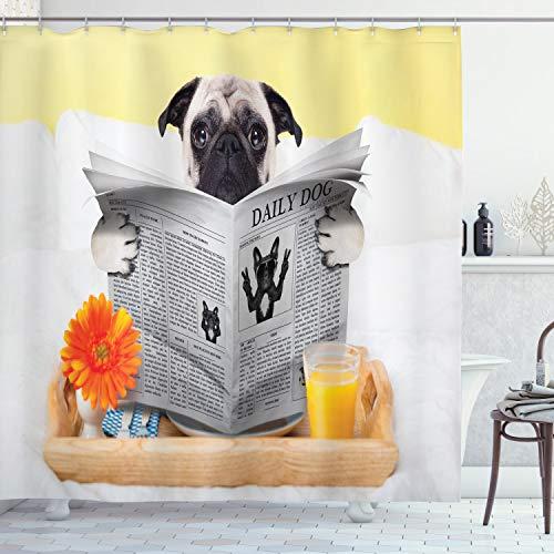 ABAKUHAUS Mops Duschvorhang, Mops, der Nachrichten-täglichen Hund liest, mit 12 Ringe Set Wasserdicht Stielvoll Modern Farbfest und Schimmel Resistent, 175x220 cm, Hellbraun Orange Gelb