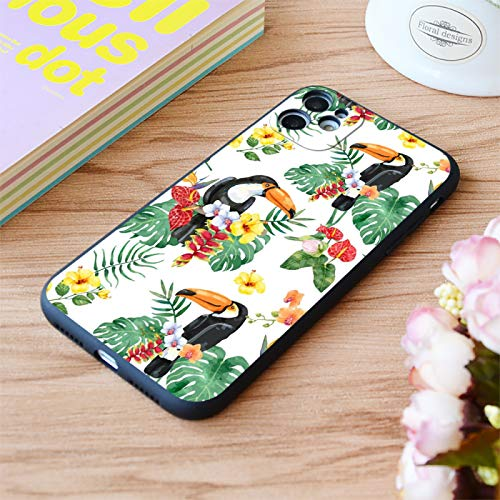 EWUEJNK Fashion Parrot Flower Print Soft Matte Phone Case para iPhone 6 7 8 11 12 Plus Pro X XR XS MAX Se, A Prueba De Golpes, Anti-Arañazos Drop Protection Phone Cover,For iPhone 6 Plus