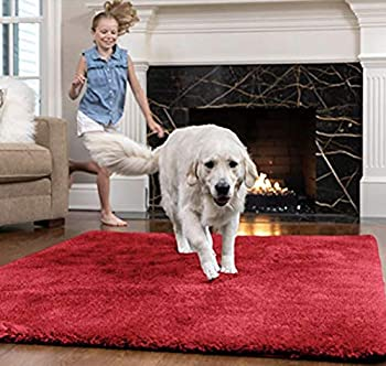 Gorilla Grip Original Faux-Chinchilla Area Rug 3x5 FT Many Colors Soft Cozy Washable Kids Carpet Rugs for Floor Luxury Shag Carpets for Home Nursery Bed and Living Room Red