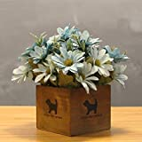 LLPXCC Flores artificiales Creativo casa floral mesa de comedor salón moderno sencillo unión flores decorativas de madera jarrones plantas flores de plástico matrimonio estudio crisantemo azul