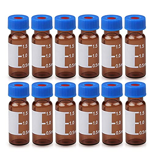 Autosampler Vial - 2ml HPLC Vial   9-425 Amber Vial with Blue Screw Caps   Writing Patch   Graduation   White PTFE & Red Silicone Septa Fit for LC Sampler (1000pcs)