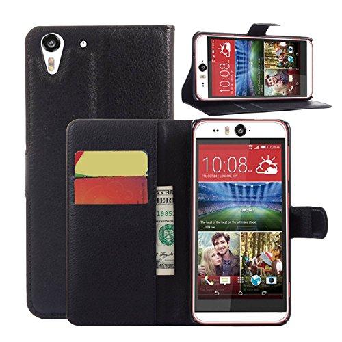 Tasche für HTC Desire Eye Hülle, Ycloud PU Ledertasche Flip Cover Wallet Hülle Handyhülle mit Stand Function Credit Card Slots Bookstyle Purse Design schwarz