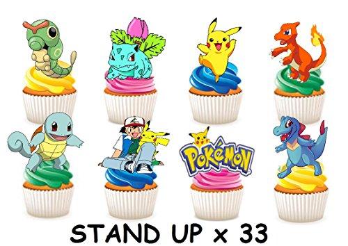 33x Pokemon Party Stand up Essbare Papier Cupcake Topper Kuchen Dekorationen
