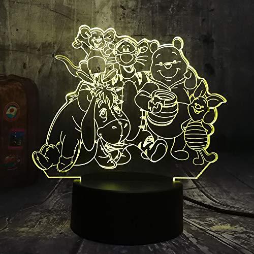 Yuandp - Grande famille - Lampe 3D - Winnie l'ourson - Eeyore Tigger Amis - Lampe de table 3D pour enfants - Veilleuse LED - Décoration de chambre