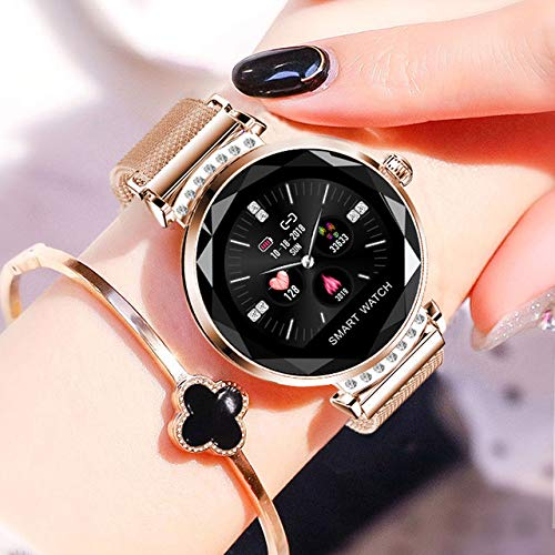 Sincerest Best Smart Watch for Women for Android and Fit for iPhones Smart Health Wristband with Blood Pressure Heart Rate Monitor,Ladies Diamond Smart Bracelet, New Smart Fitness Tracker