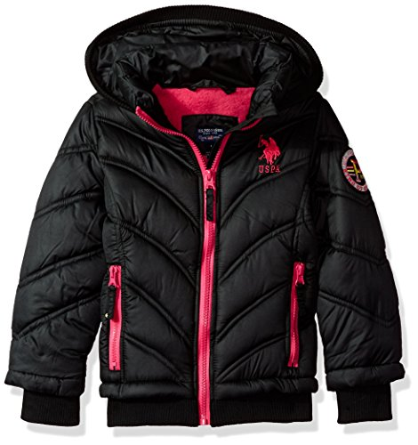 U.S. Polo Assn. Baby Big Girls' Bubble Jacket (More Styles Available), Black, 7/8