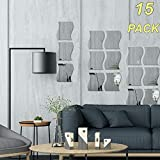 15PCS Wavy Mirror Wall Stickers, 3D Mirror Art DIY Home Decorative Acrylic Mirror Wall Sheet Plastic Mirror Tiles for Home Living Room Bedroom Sofa TV Setting Wall Decoration Decor Decal (Silver)